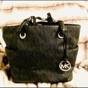 Michael Kors signature black tote bag